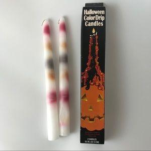 Vintage Halloween Color Drip Candles Set of 2 VTG